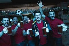 Sportfans som framme firar och hurrar av tv som dricker öl på sportstången arkivbilder
