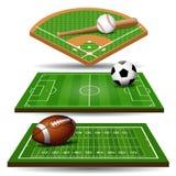 Sportfeld, -ball und -Gestaltungselemente Fußball, Rugby, Baseball Lizenzfreie Stockfotos