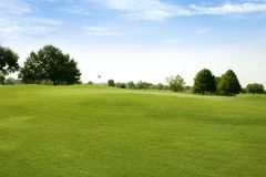 Sportfelder des grünen Grases des Beautigul Golfs Stockfotografie