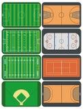 Sportfelder und -gerichte Stockfotos