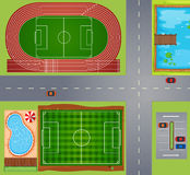 Sportfelder und -gerichte Stockbilder