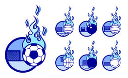 Sportfire icons. A set of vector sport theme icons with fireballs Royalty Free Stock Image