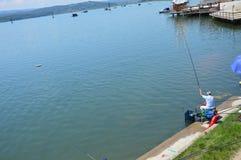 Sportfischen des Sees Modrac Stockfoto