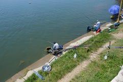 Sportfischen des Sees Modrac Stockfotos