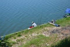 Sportfischen des Sees Modrac Lizenzfreies Stockfoto