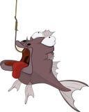 Sportfischen und räuberische Fische. Karikatur Stockfotos