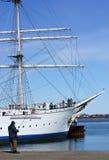 Sportfiskare och seglingskepp arkivbild