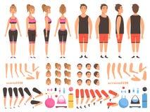 Sportfolkanimering Konditionman och kvinnlig sats för skapelse för vektor för genomköraremaskotkroppsdelar vektor illustrationer