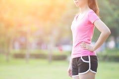 Sportfrauenblick irgendwo Lizenzfreie Stockbilder