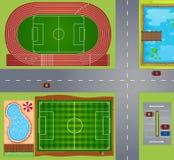 Sportgebieden en hoven Stock Afbeeldingen