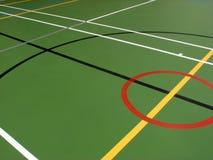 Sporthallen-Fußbodenmarkierungen Stockfotos