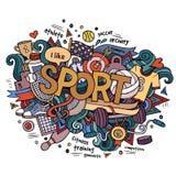 Sporthandbeschriftung und Gekritzelelemente Lizenzfreie Stockbilder
