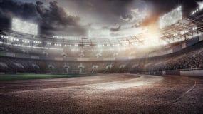 Sporthintergründe Fußball stadium 3d übertragen stock abbildung