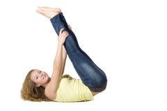Sportief meisje dat oefeningen doet Stock Afbeeldingen