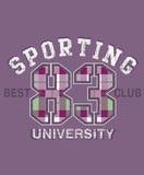 Sportief universitair ontwerp Stock Afbeeldingen