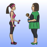 Sportieve en vette vrouwen. vector illustratie