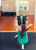 Sportieve jonge vrouw die zitten-omhoog doen stock foto