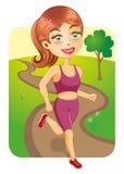 Sportieve Meisjesjogging in het Park Stock Afbeelding