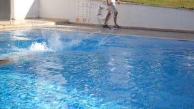 Sportieve spiermens die in water van bassin op zonnige dag springen Jonge kerel die in pool zwemmen Langzame Motie Dichte Omhoogg stock footage