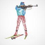 Sportif abstrait de biathlon illustration de vecteur