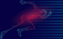 Sportif courant impétueux rapide Accomplissement à grande vitesse de sport couru par homme Fond de sprinter de silhouette Coureur illustration libre de droits
