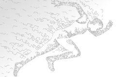 Sportif courant impétueux rapide Accomplissement à grande vitesse de sport couru par homme Fond de sprinter de silhouette Gris bl illustration libre de droits
