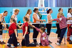 Sportifs se serrant la main Photo libre de droits