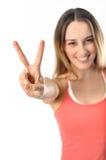 Sportig Aerobicsflicka som undertecknar seger Arkivfoton