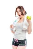 Sportig flicka på en banta royaltyfri fotografi