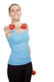 sportig kvinna för skivstånghänder Royaltyfri Foto