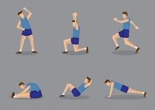 Sportig man som gör sträcknings- och uppvärmningsövningar royaltyfri illustrationer