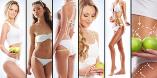 Sportiga kvinnor i baddräkter med frukter Fotografering för Bildbyråer