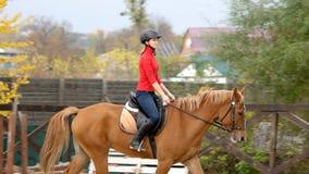 Sportigt kvinnligt rida för jockeyövningar royaltyfri foto