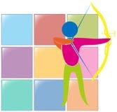 Sportikonendesign für Bogenschießen in den Farben stock abbildung
