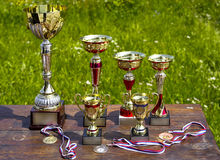 Sporting awards. Standing on the table royalty free stock photography