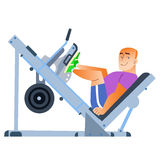 Sporting a bald man has been in the gym. Sports smiling bald man is doing in the gym. Shakes muscles, health, smile stock illustration