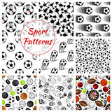 Sporting ball, items and trophy seamless pattern Stock Images
