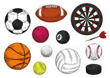 Sporting balls, dartboard and hockey puck sketches Stock Images