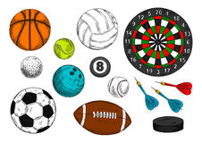 Sporting balls, hockey puck, dart board sketches Stock Photography