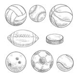 Sporting balls and hockey puck isolated sketches Royalty Free Stock Photos