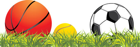 Sporting Balls In Grass Royalty Free Stock Images