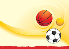 Sporting balls on the yellow background Royalty Free Stock Image