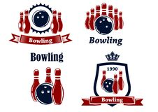 Sporting bowling emblems and symbols. Sporting bowling heraldic emblems and symbols in retro style with ball, ninepins, banner and crown Stock Photography