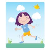 Sporting cartoon girl. Sportive little girl exercising outdoor. Educational vector series- see more in my portfolio Stock Images