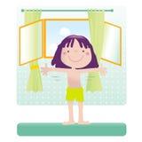 Sporting cartoon girl. Sportive little girl exercising. Educational vector series- see more in my portfolio Stock Photos