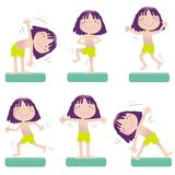 Sporting cartoon girl. Sportive little girl exercising, vector cartoon. Educational series- see more in my portfolio Royalty Free Stock Images
