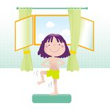 Sporting cartoon girl. Sportive little girl exercising. Educational vector series- see more in my portfolio Royalty Free Stock Photography