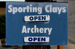 Sporting Clays and Archery Sign Royalty Free Stock Images