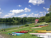 Sporting competitions on kayaks and canoe. LATVIA, BALDONE, JULY, 27, 2014 - Sporting competitions on kayaks and canoe in Baldone, Latvia royalty free stock photography
