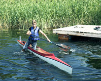 Sporting competitions on kayaks and canoe Stock Photos